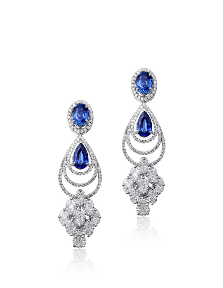 Varuna D Jani earrings featuring diamonds and sapphires