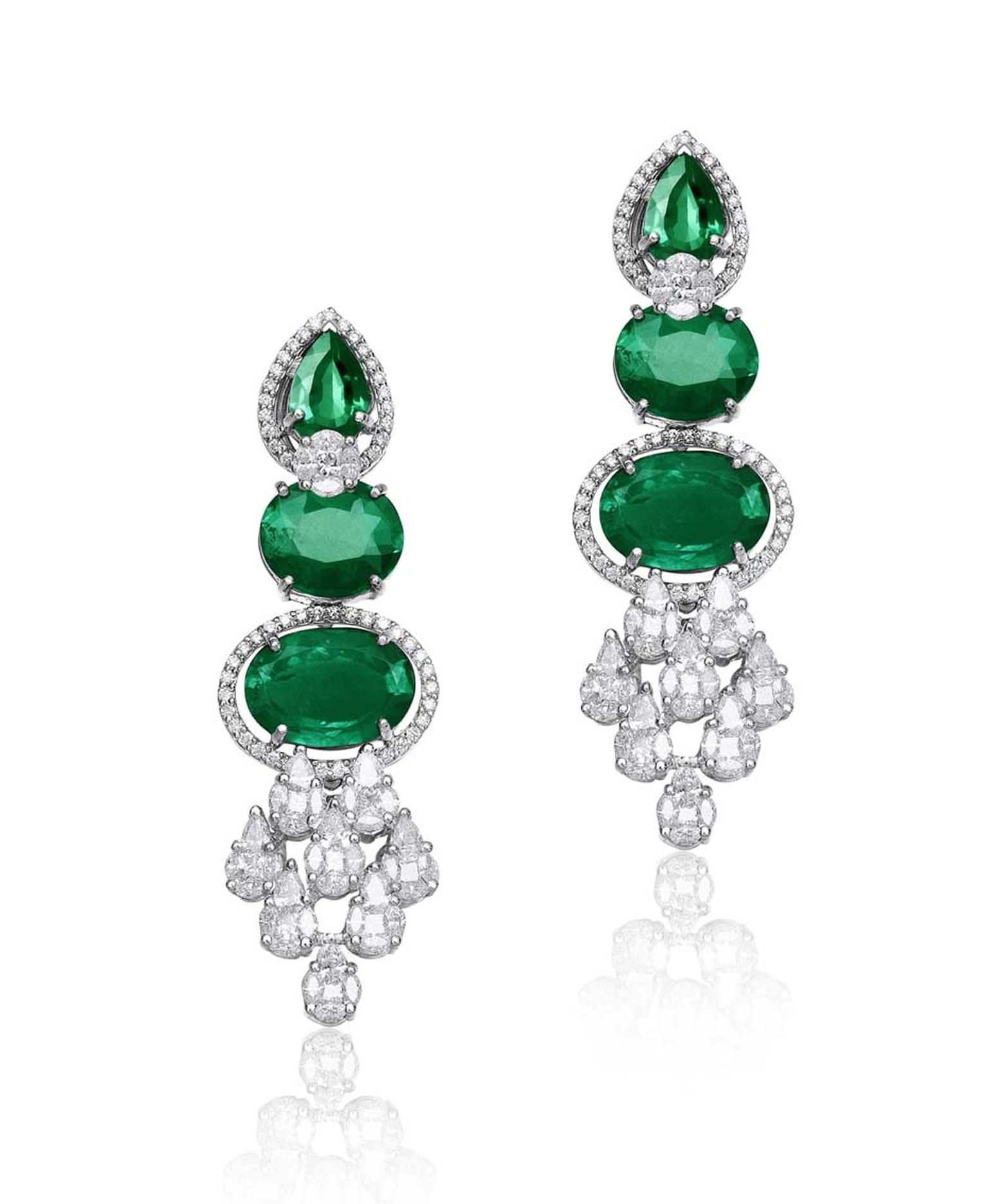 Varuna D Jani earrings featuring diamonds and emeralds