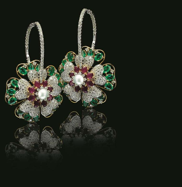 Varuna D Jani Floral hoop earrings featuring diamonds, rubies and emeralds