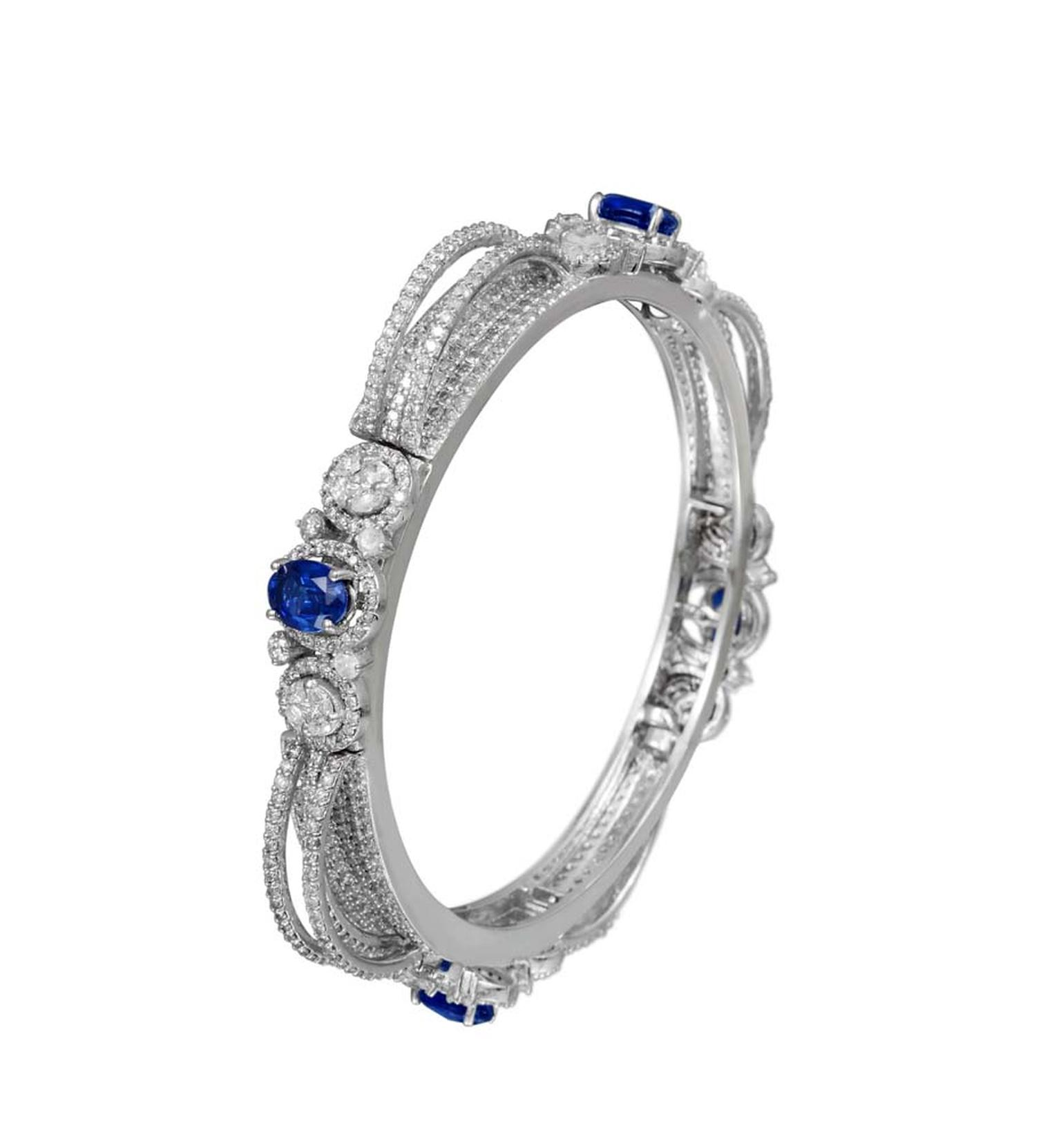 Varuna D Jani Vow collection bangle featuring diamonds and sapphires