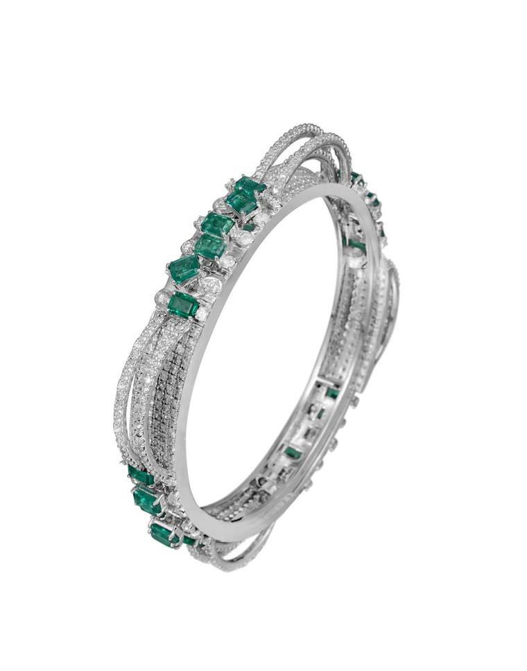 Varuna D Jani Vow collection bangle featuring diamonds and emeralds