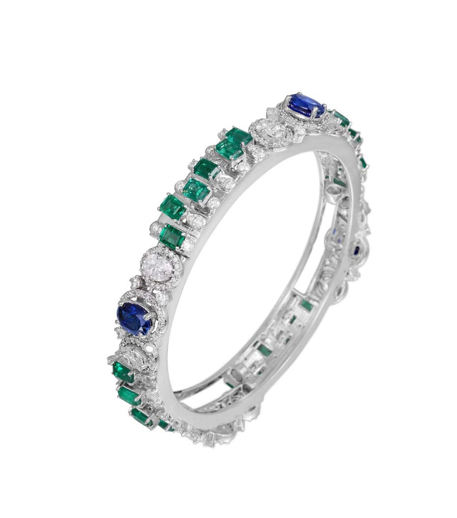Varuna D Jani Vow collection bangle featuring diamonds, sapphires and emeralds