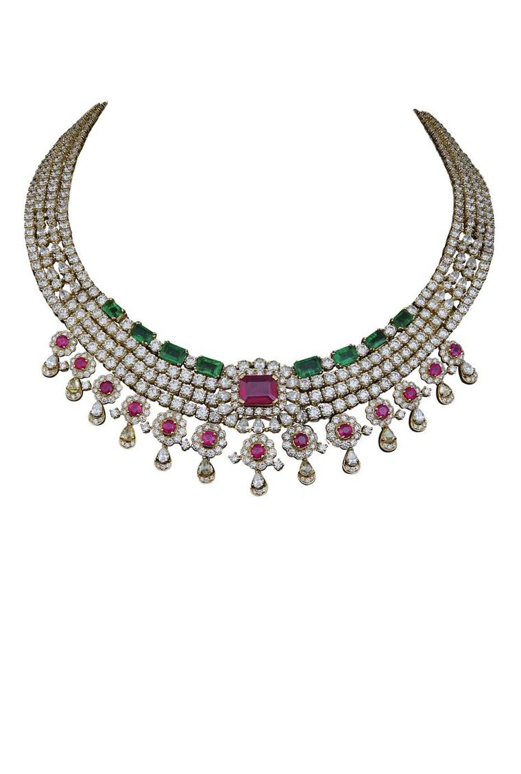 The Varuna D Jani Vow collection necklaces featuring diamonds, rubies and emeralds with the pendant removed