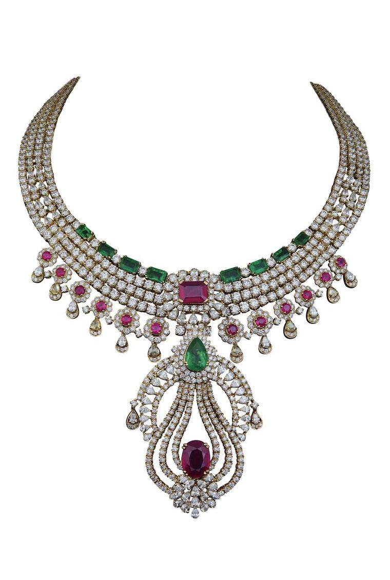 Varuna D Jani Vow collection necklace with diamonds, rubies and emeralds. The pendant is detachable