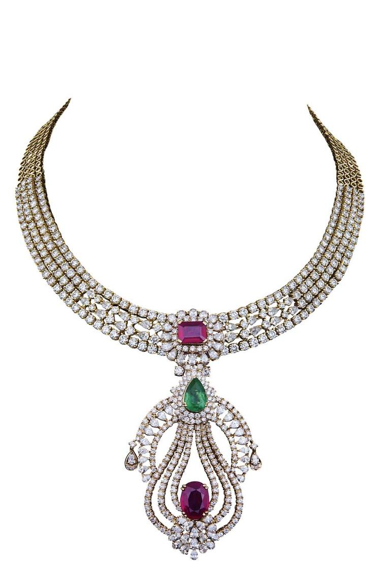 Varuna D Jani Vow collection pendant necklace with diamonds, rubies and emeralds. The pendant is detachable