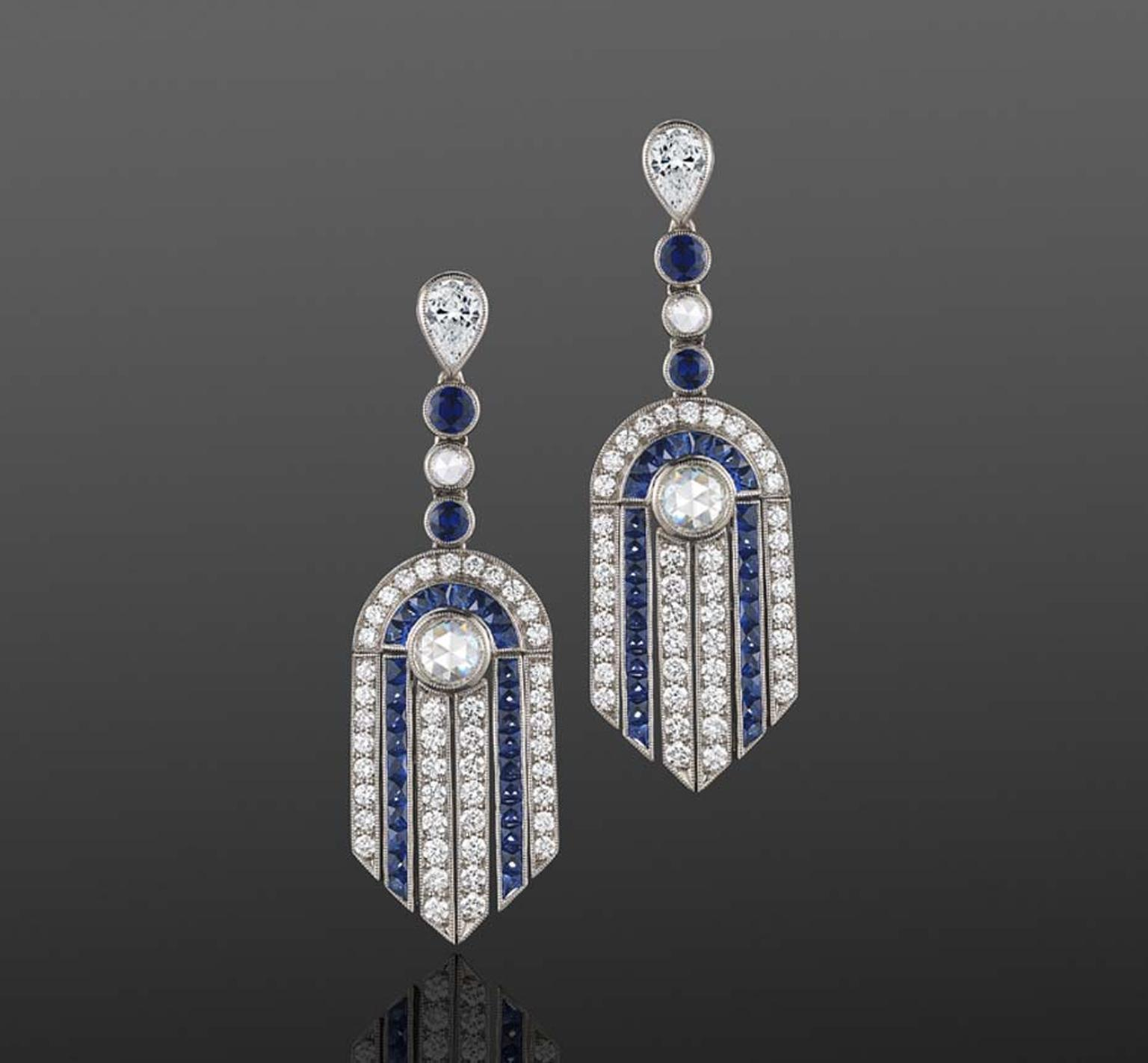 French-cut sapphire and diamond fringe fountain pendant earrings from the Fred Leighton contemporary collection