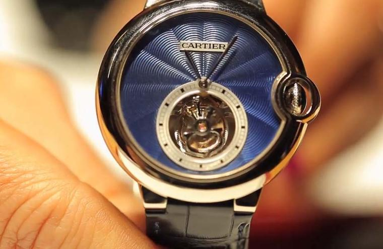 The new Ballon Bleu de Cartier Flying Tourbillon watch features a richly rippled blue guilloché dial