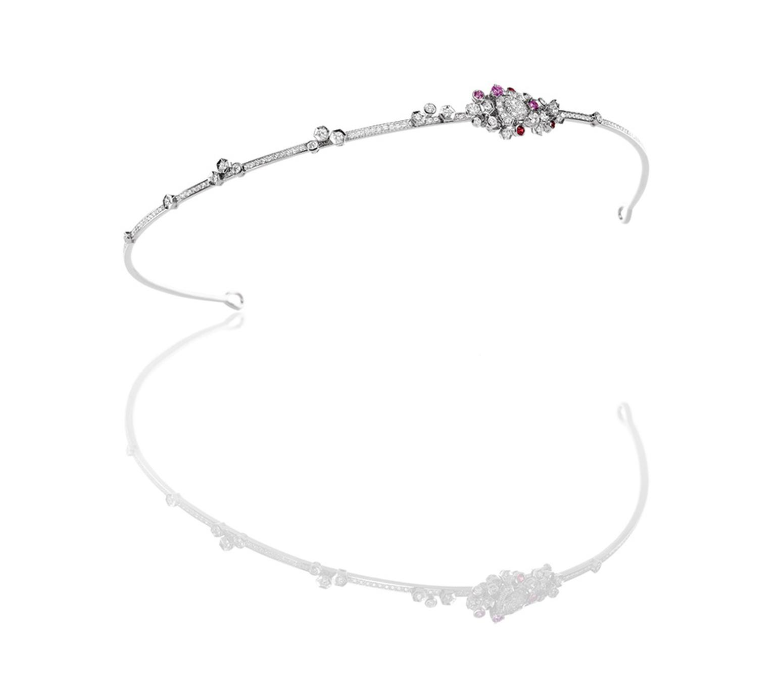 Chaumet Bee My Love tiara in white gold, with diamonds, red spinels and pink sapphires. The bee brooch is detachable