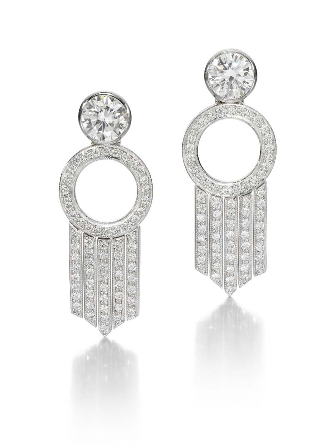 Jessica McCormack Bang earrings in white gold, with diamond loops and diamond-set fringing. The 2.03ct round brilliant-cut diamonds are detachable