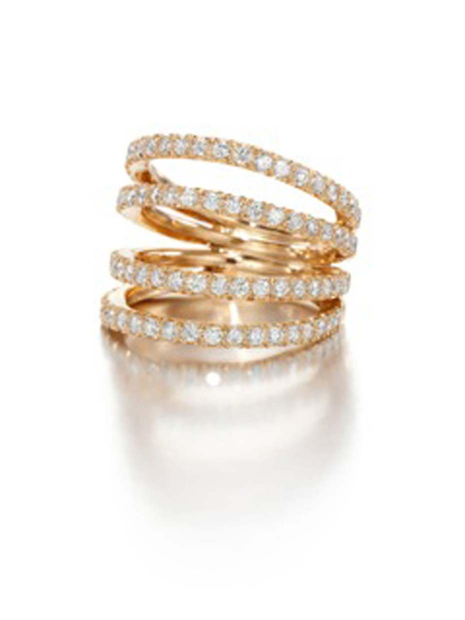 Jessica McCormack silver and rose gold Four Split Band diamond ring featuring 80 brilliant-cut diamonds