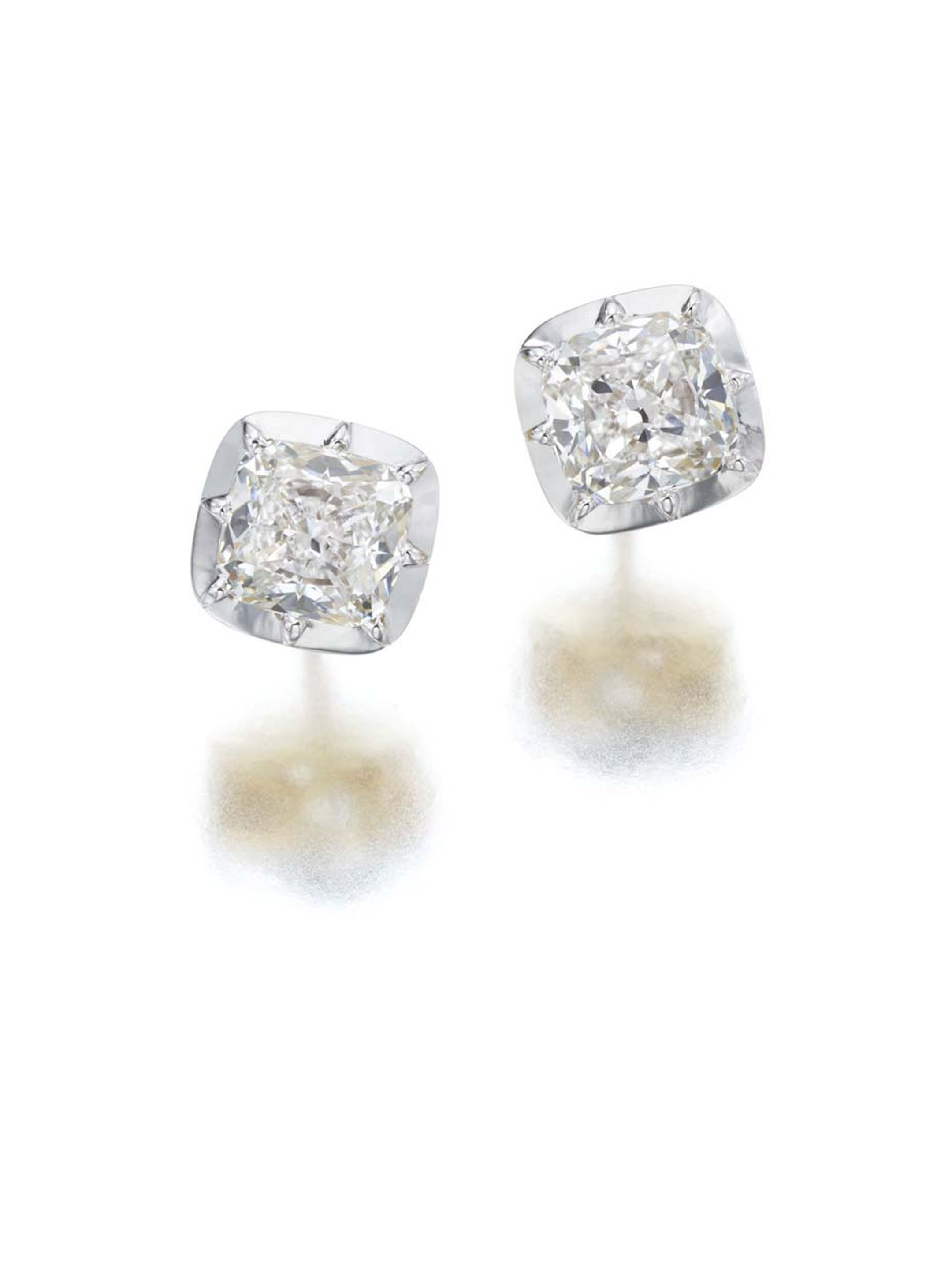 Jessica McCormack Snowdrop diamond studs in white gold, set with 3.06ct cushion-cut diamonds