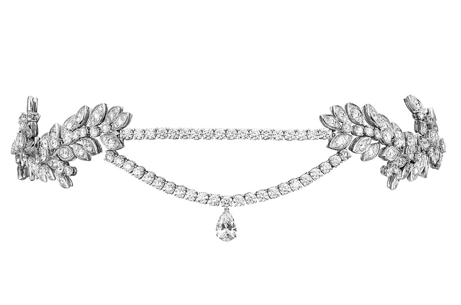 One-of-a-kind Piaget Rose Passion headband in white gold with brilliant-cut diamonds a pear-shaped diamond