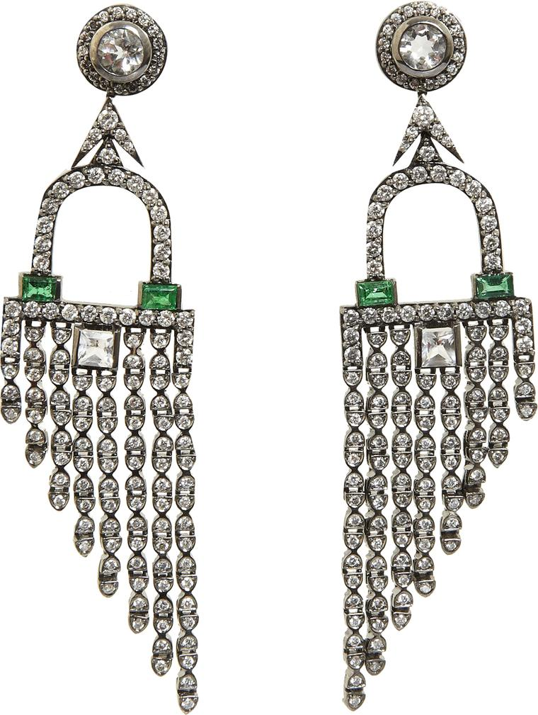 Deborah Pagani white gold Deco Fringe earrings featuring diamonds, rock crystal and emeralds