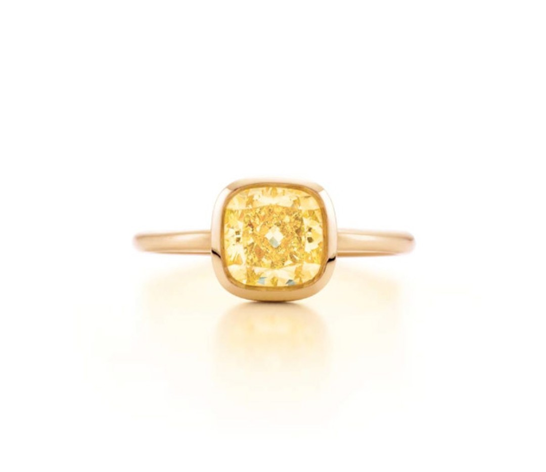 Tiffany & Co. cushion-cut yellow diamond engagement ring in pink gold