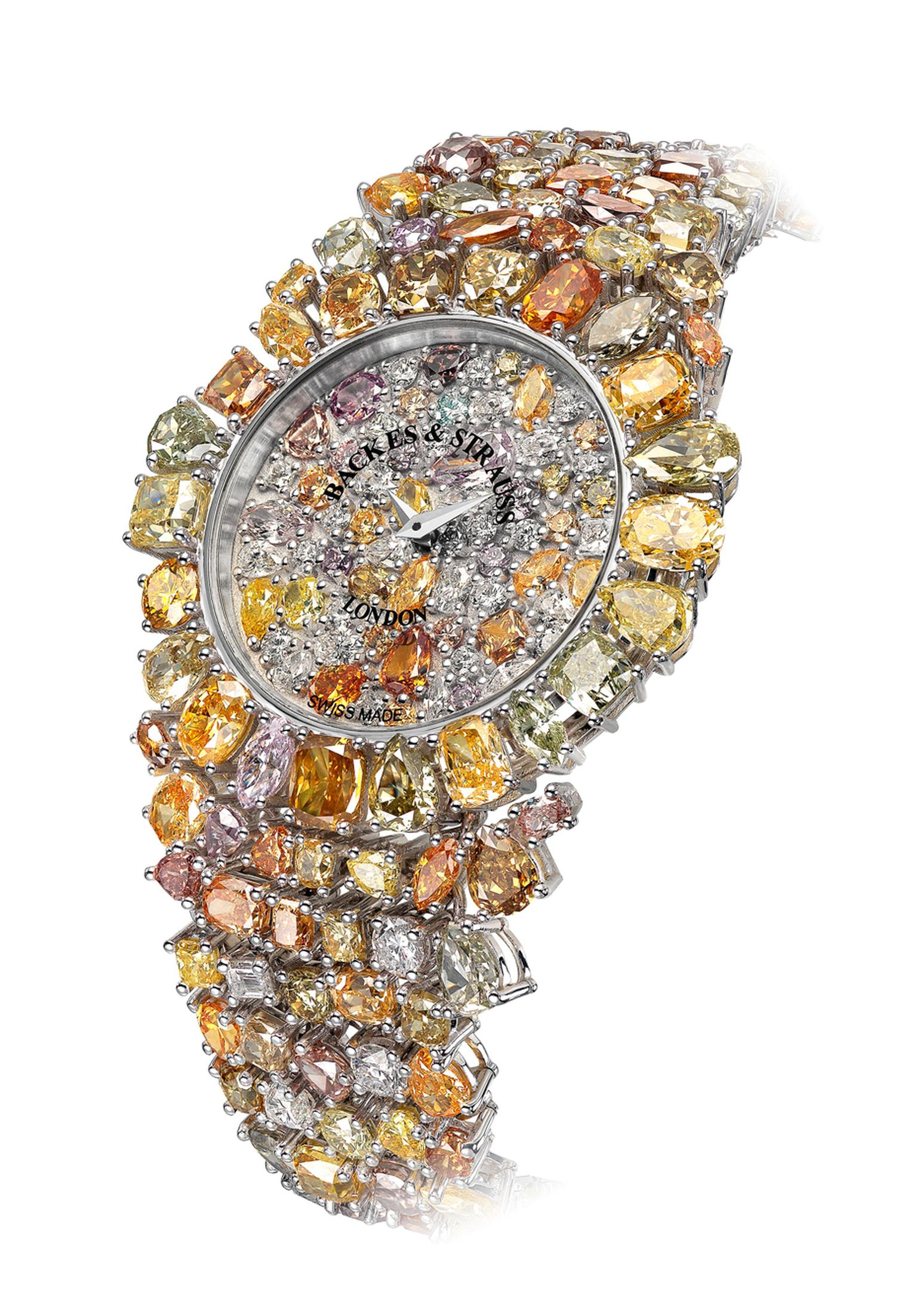 Backes & Strauss' spectacular Piccadilly Princess Royal Colours watch is entirely covered in 225 diamonds in 66 different hues, all of them of the prized fancy-coloured variety