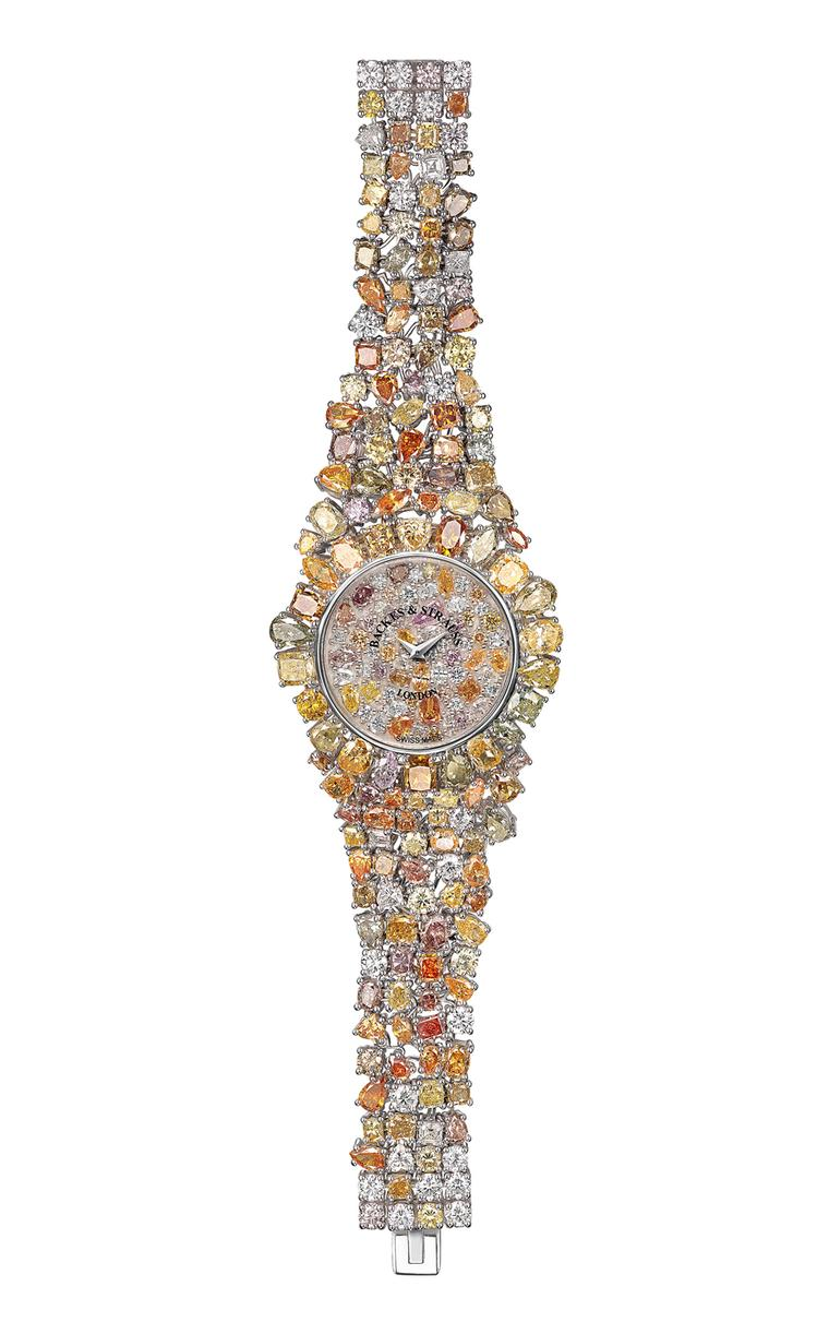 Adding to the illusion of a starburst of colour and light, 10 different cuts of diamonds have been used in Backes & Strauss' Piccadilly Princess Royal Colours watch
