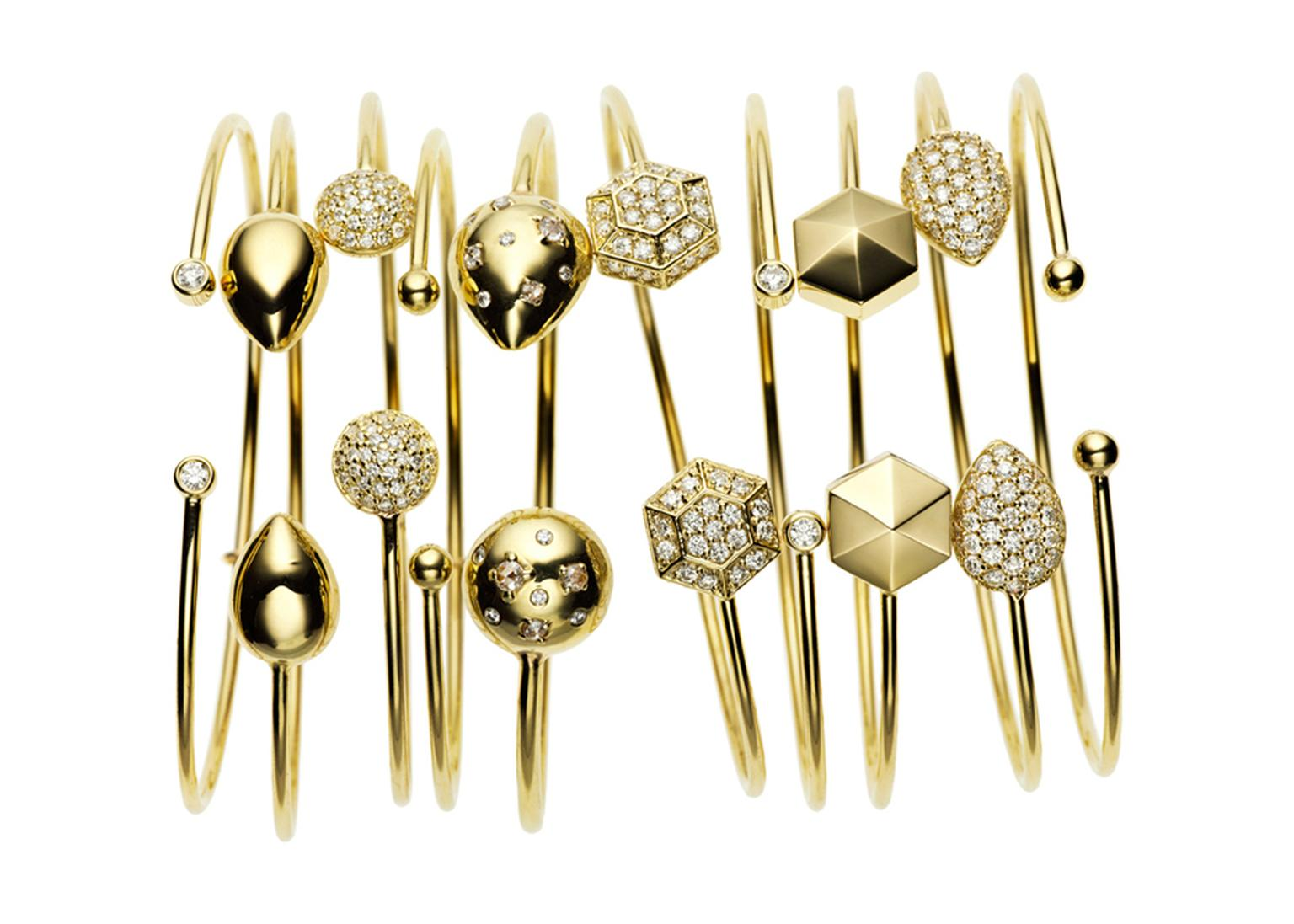 Jemma Wynne yellow gold and diamond Prive bandles featuring rose-cut and white diamonds