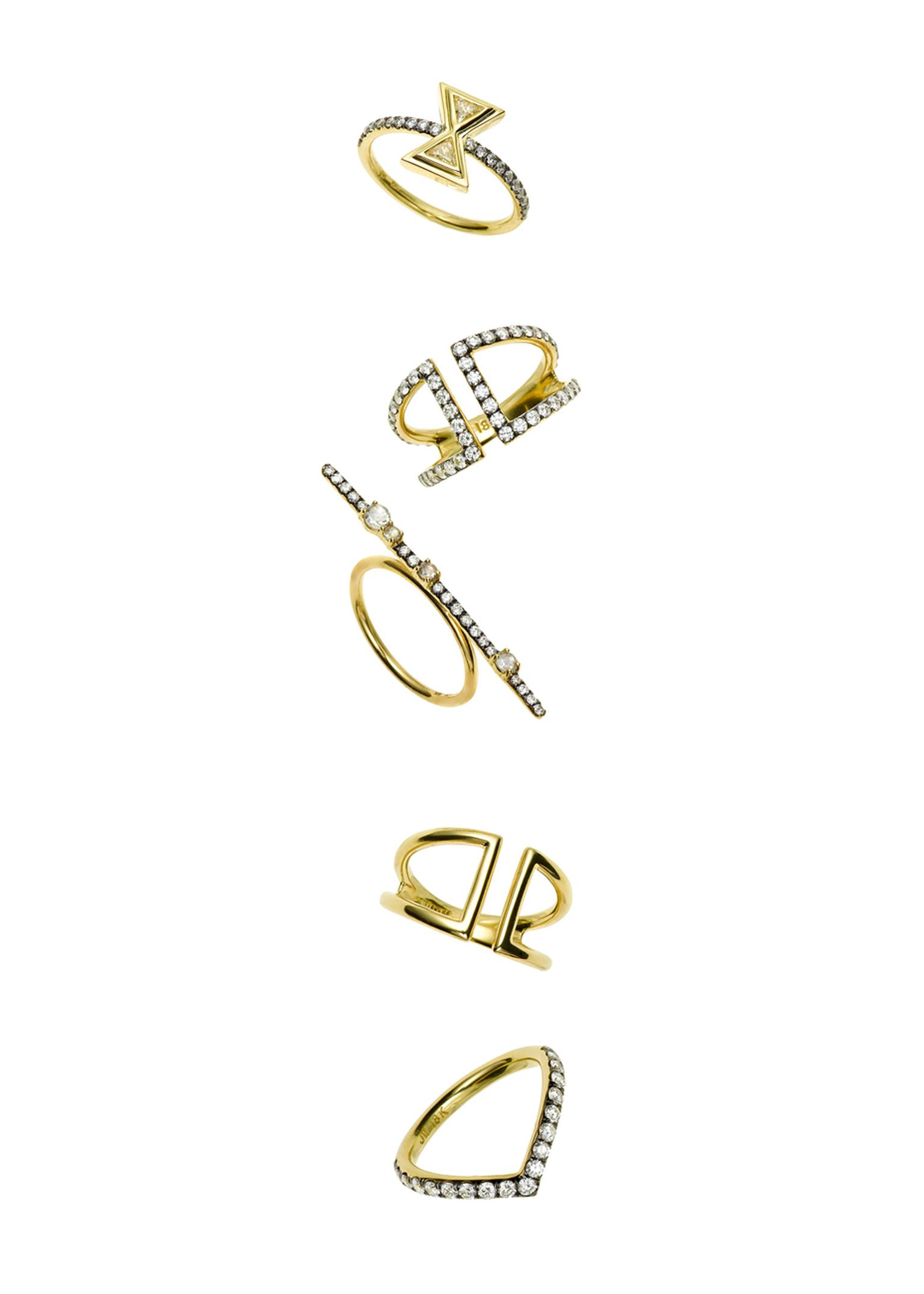 Jemma Wynne yellow gold Covet rings with rose-cut and white diamonds