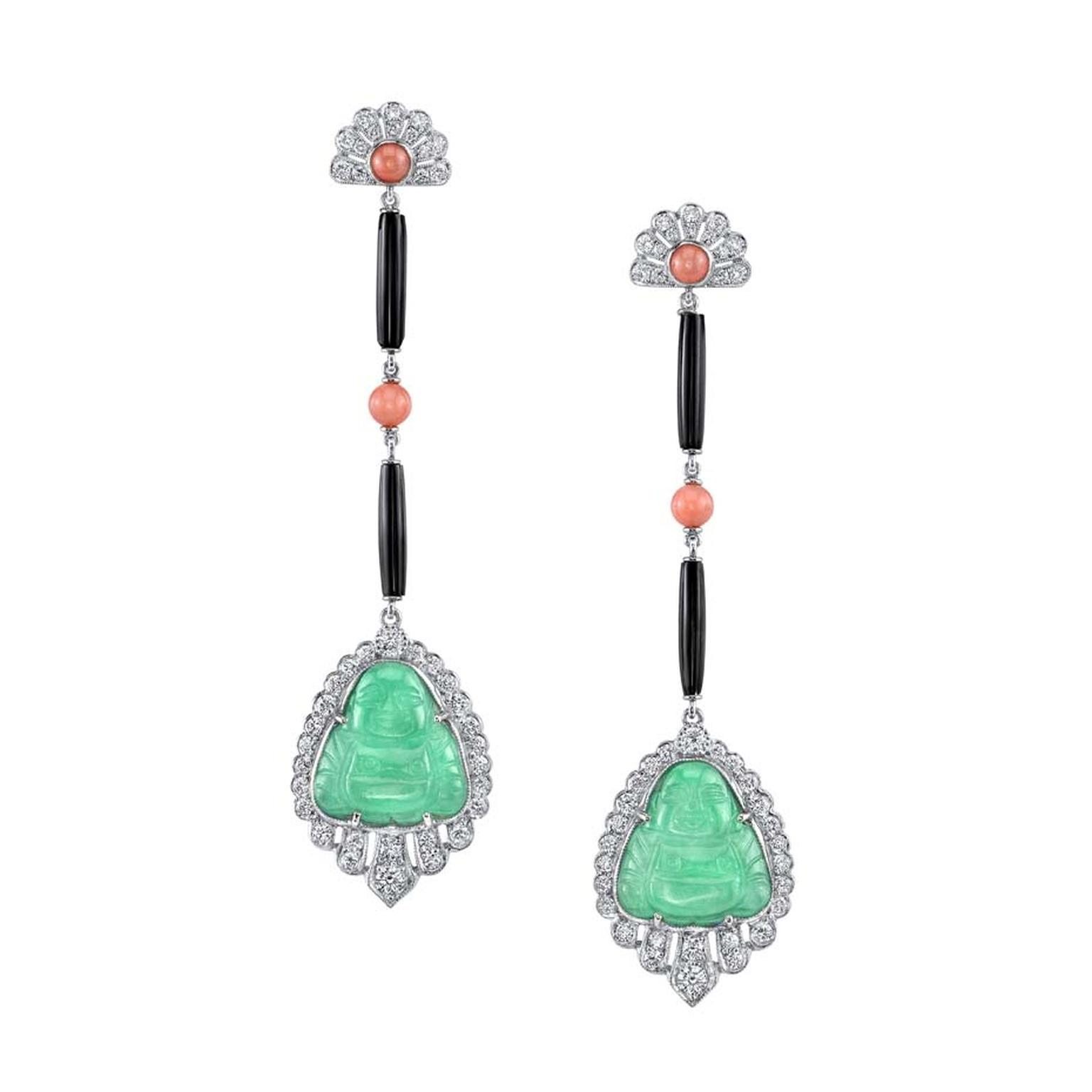 The vintage-inspired diamond, jade, coral and platinum Neil Lane earrings worn by Jennifer Lawrence at the Golden Globe Awards 2014