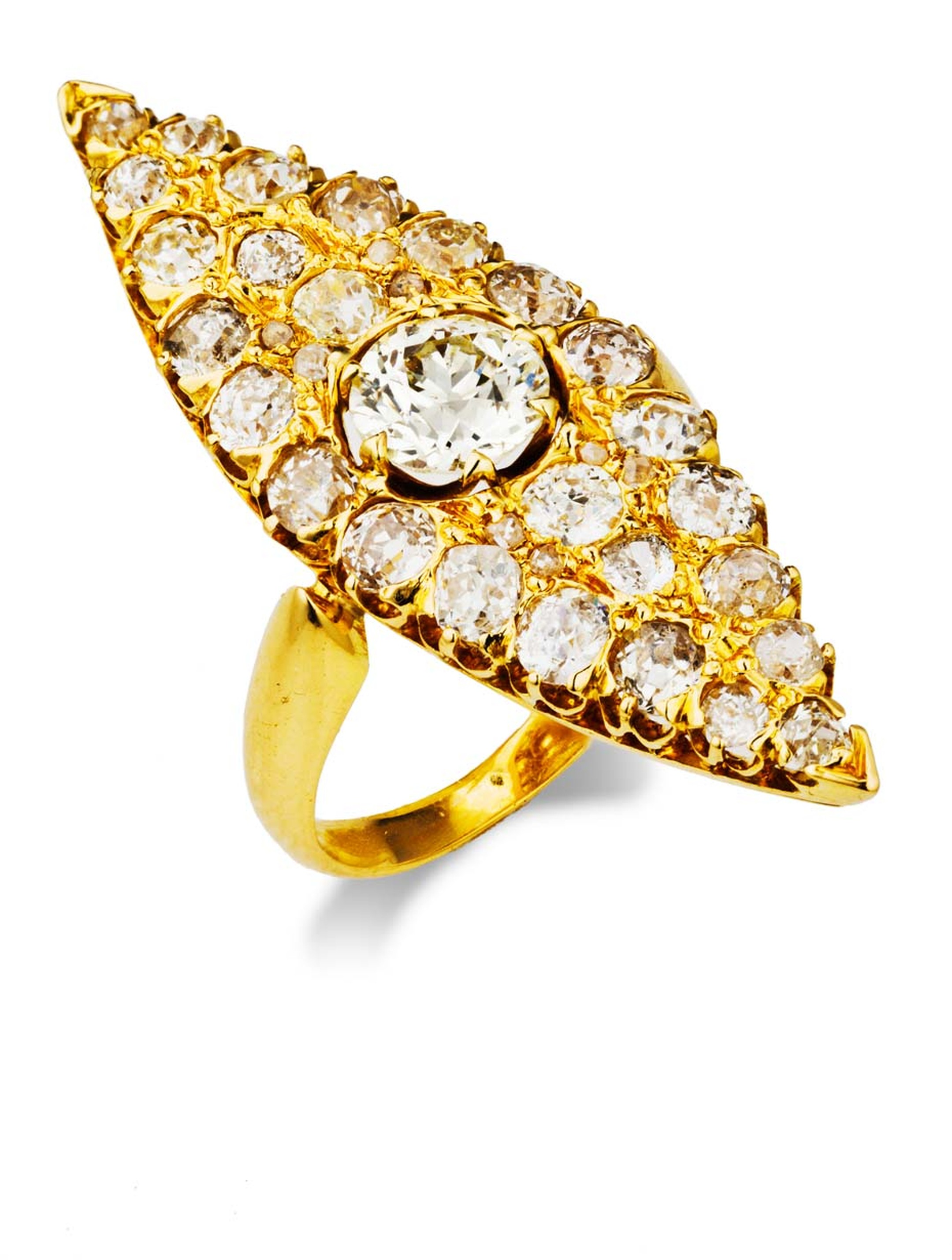 The diamond and gold nevette Neil Lane ring worn by actress Elisabeth Moss to the Screen Actors Guild Awards 2014