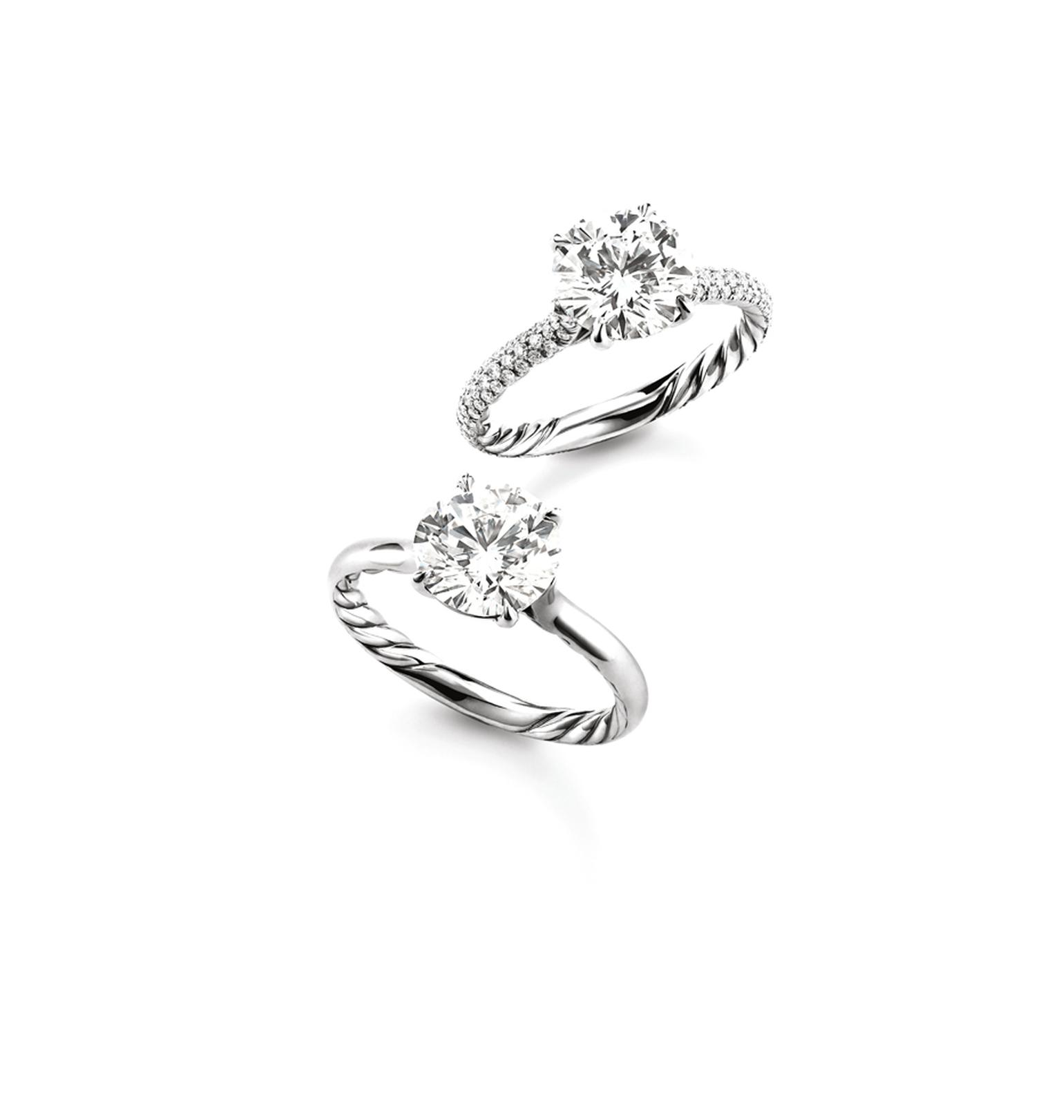 David Yurman Signature Cut engagement ring featuring a band with or without pave diamonds and the DY signature cable band.