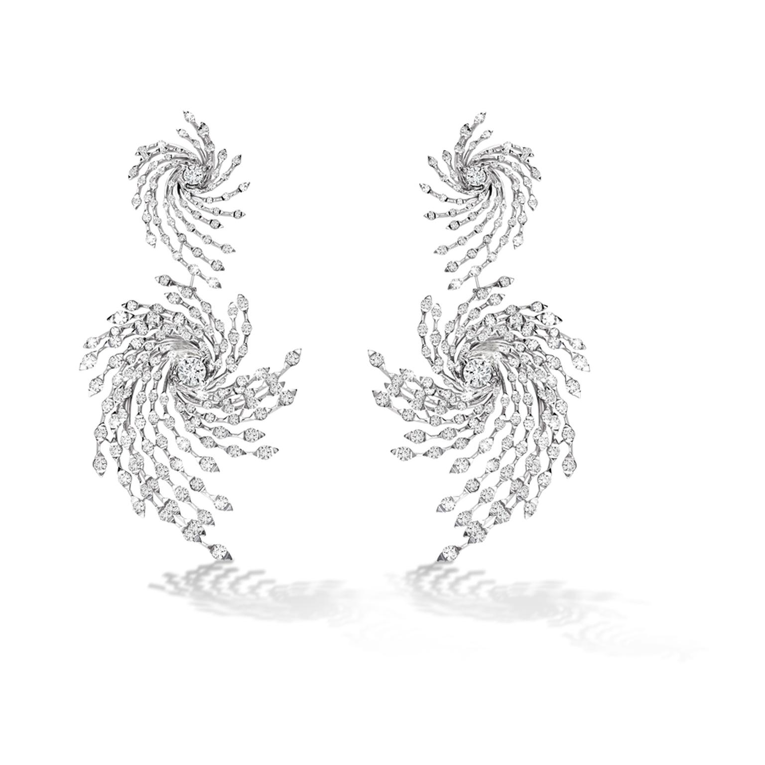 Brilliant-cut diamond Asprey Storm earrings in white gold