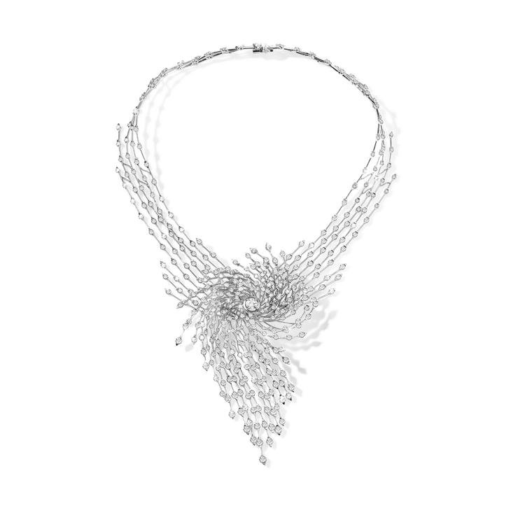 Asprey Storm necklace in white gold featuring 457 brilliant-cut diamonds totalling 24.06ct