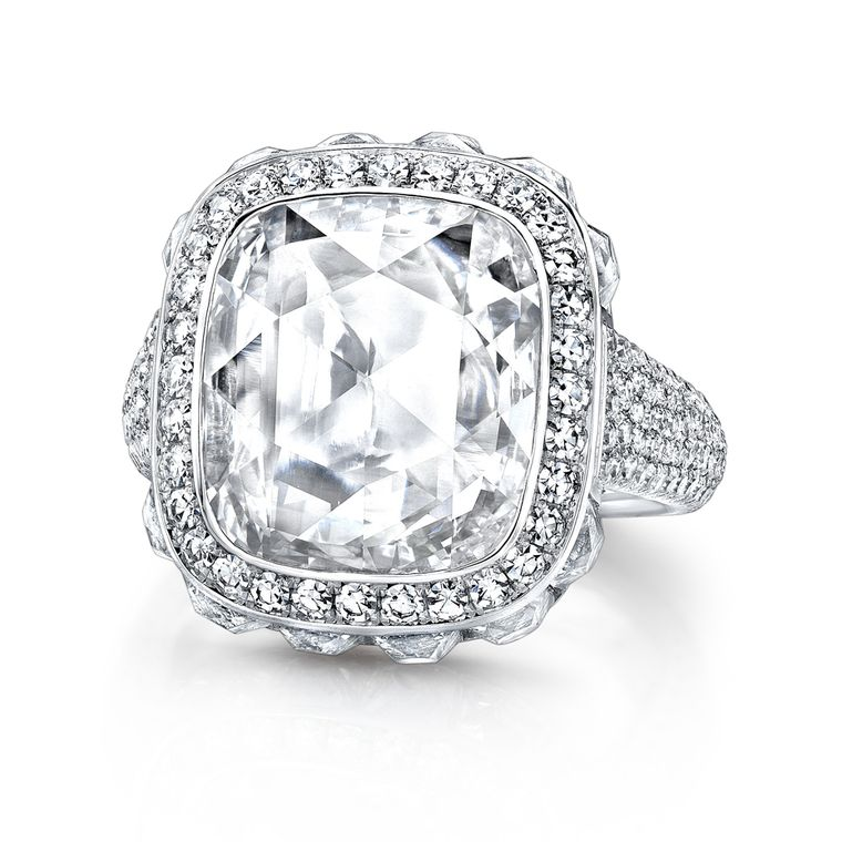 Martin Katz New York collection diamond and platinum ring, set with a 4.38ct cushion rose-cut diamond