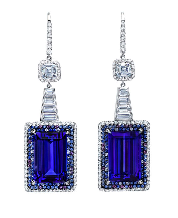 Martin Katz New York collection baguett-cut tanzanite earrings in platinum