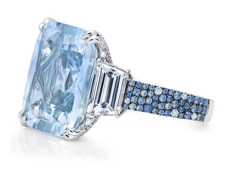 Martin Katz New York collection ring in platinum featuring a 17.56ct pale blue cushion-cut sapphire