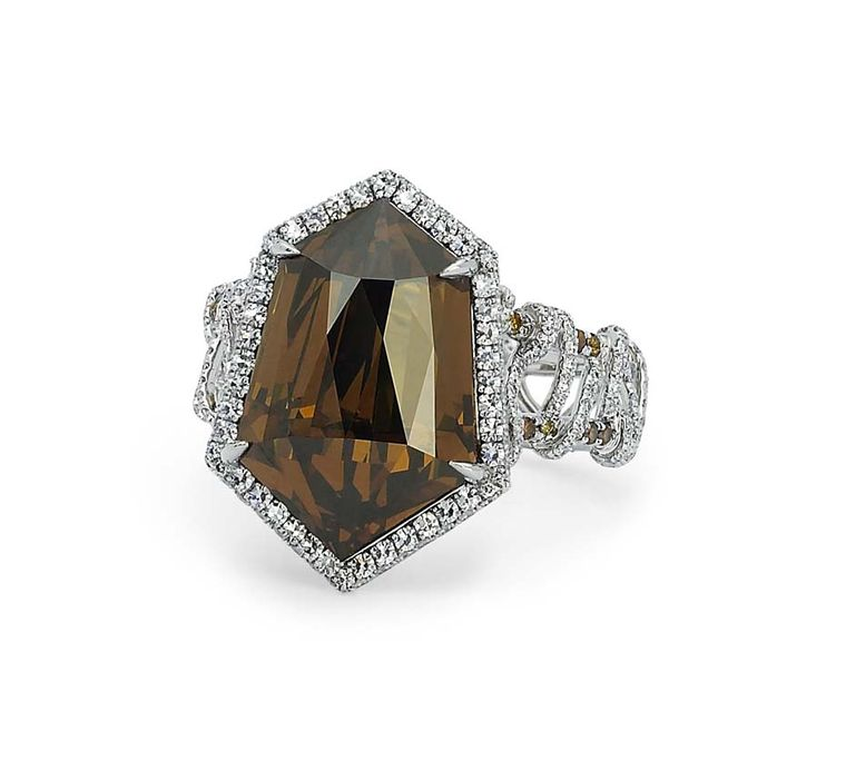 Martin Katz New York collection ring, set with a 10.97ct kite-shape cognac diamond and micro-set diamonds in white gold