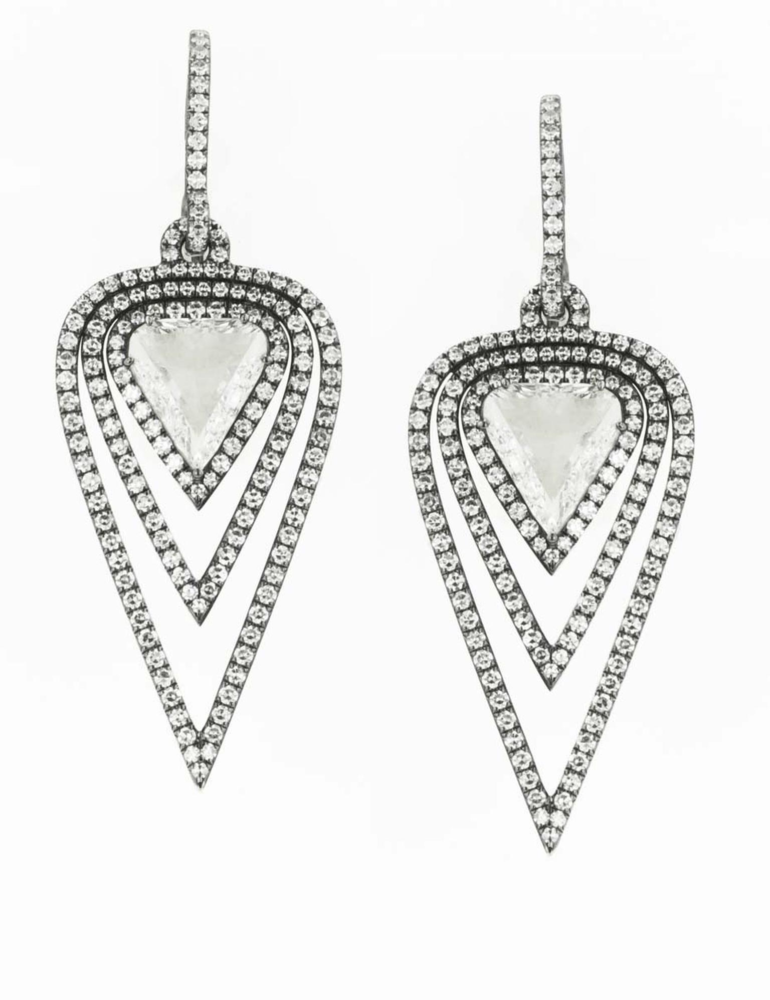 Martin Katz New York collection diamond earrings in antiqued white gold, set with 3.30ct triangular rose-cut diamonds