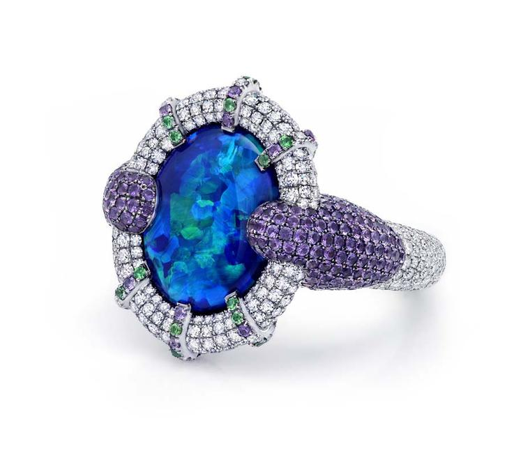 Martin Katz New York collection ring featuring a rare 8.01ct Australian black opal
