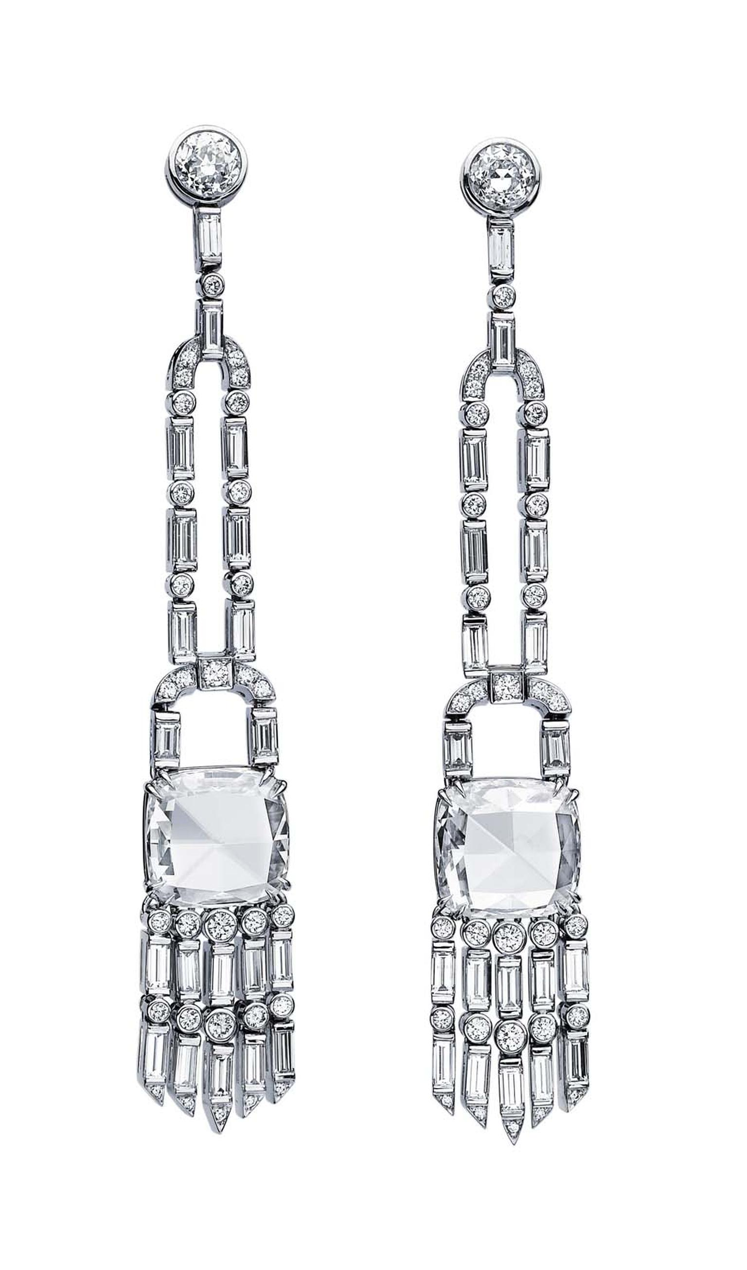 Martin Katz New York collection vintage style tassel earrings, set with cushion rose-cut, baguette and round diamonds