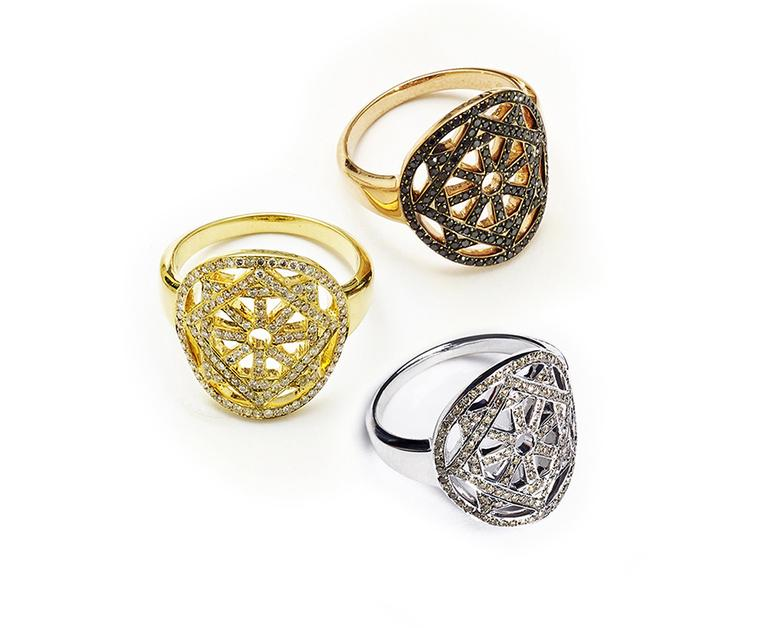 Pamela Love Fine Arch Rings in yellow gold with pavé white diamonds, rose gold with pavé black diamonds and white gold with pavé champagne diamonds