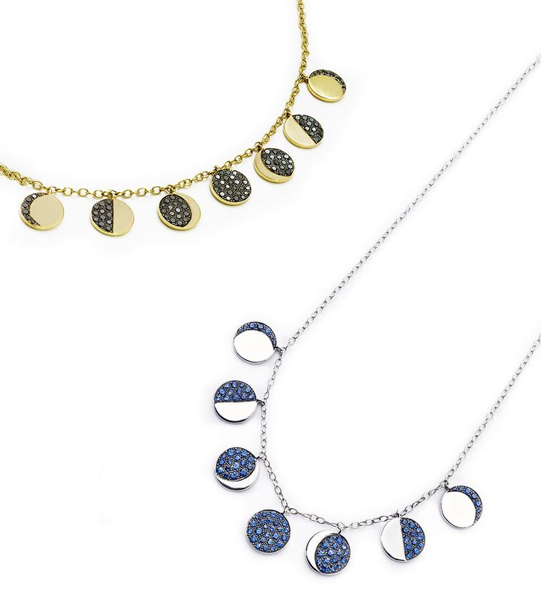 Pamela Love Fine Moon Phase Necklaces in yellow gold with pavé black diamonds and white gold and pavé blue sapphires