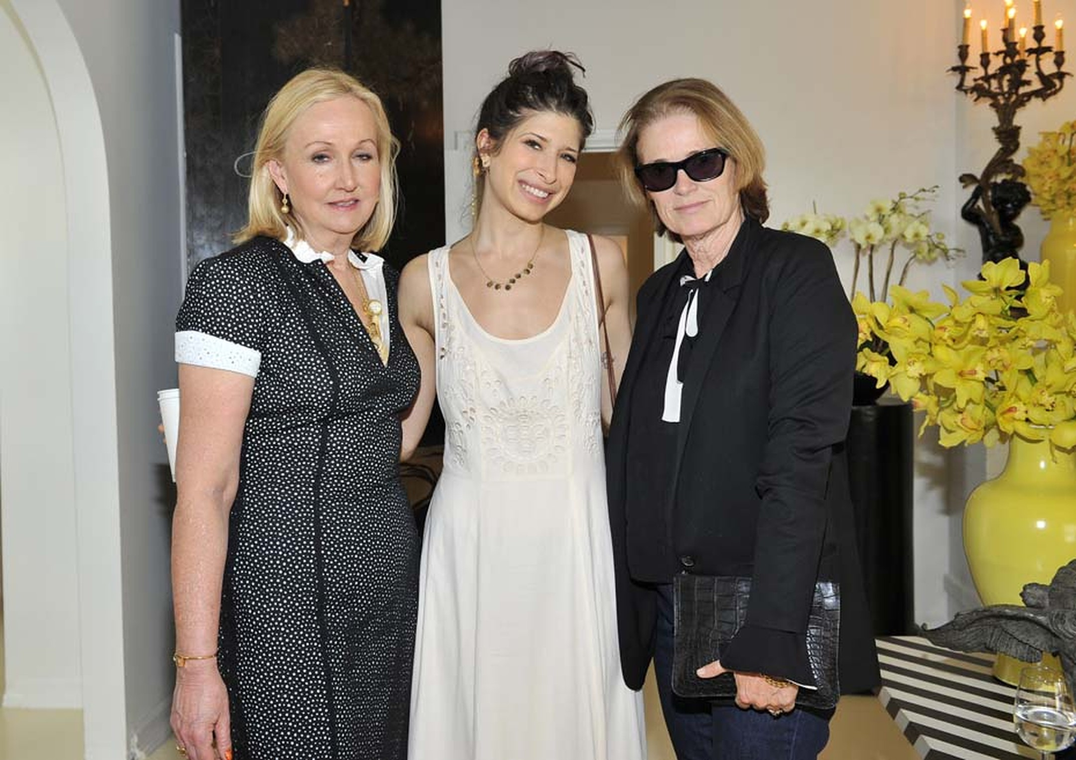 Pamela Love, centre, who last year won the prestigious CFDA Swarovski Accessory Design award, presented her 35-piece collection to magazine editors including Lisa Love, right, the West Coast editor of Vogue