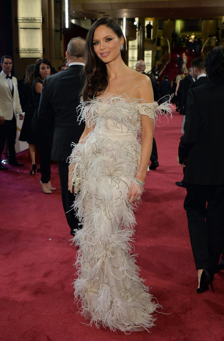Georgina Chapman chose Harry Winston diamonds for her red carpet moment at the Academy Awards 2014.