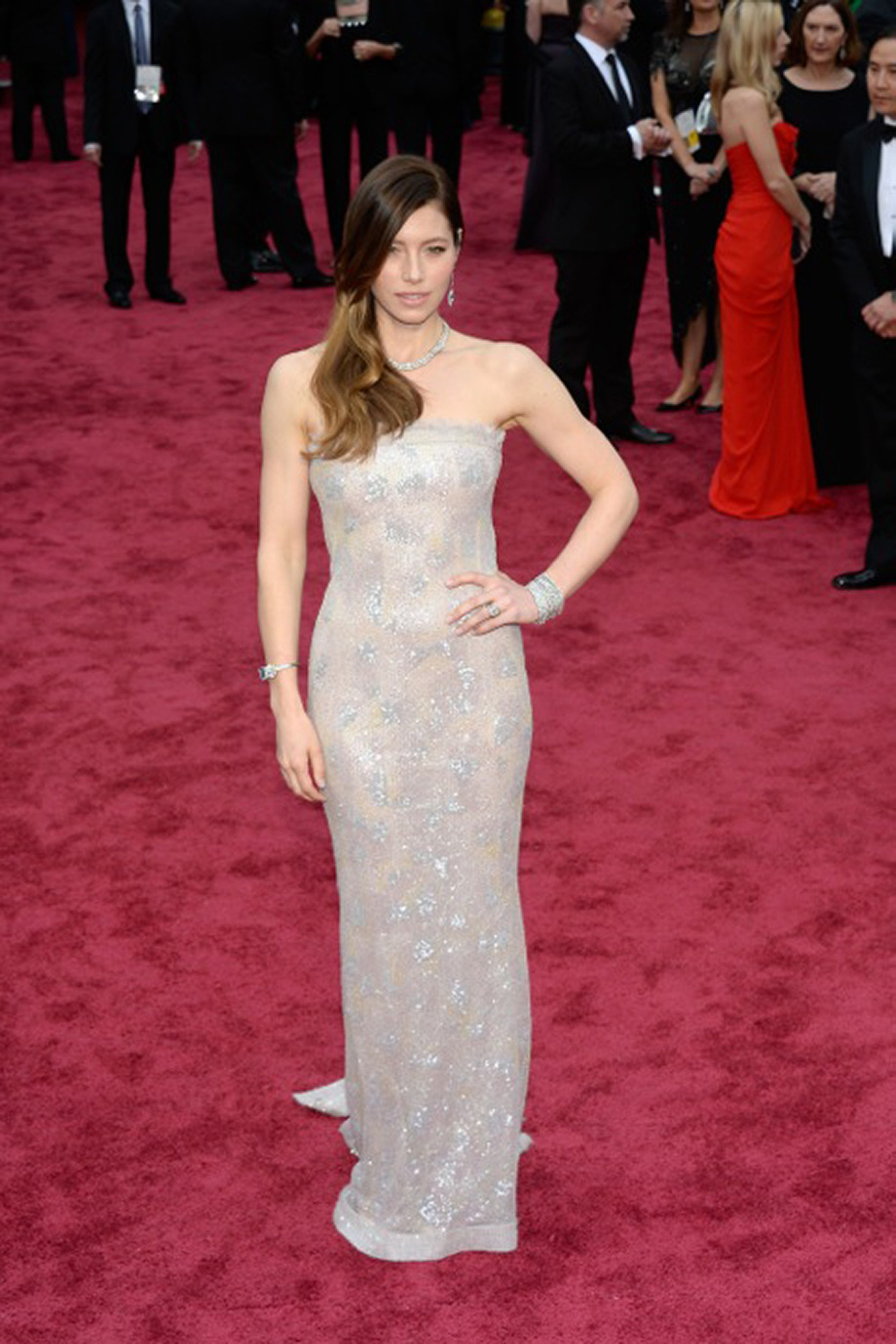 Jessica Biel wore Haute Couture Chanel and Tiffany & Co. necklace, earrings, and bracelet at the 86th Academy Awards. Image by: © Tiffany & Co.