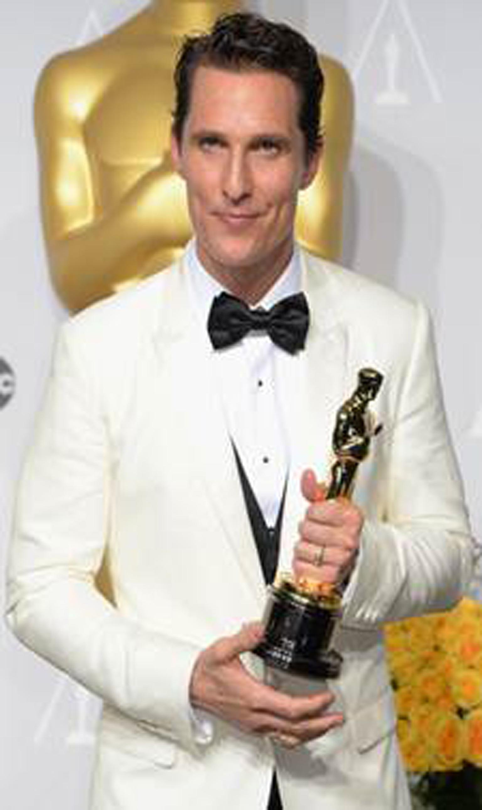 Academy Award Winner for Best Actor in a Leading Role, Matthew McConaughey selected Chopard's white gold L.U.C XP Tonneau timepiece featuring a white dial and black leather strap.