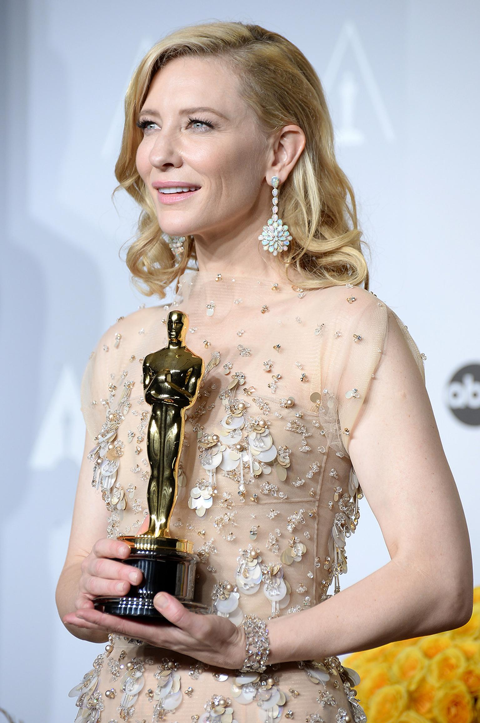 Academy Awards Winner for Best Actress in a Leading Role, Cate Blanchett, gave a preview of Chopard's 2014 Red Carpet Collection at the 2014 Oscars