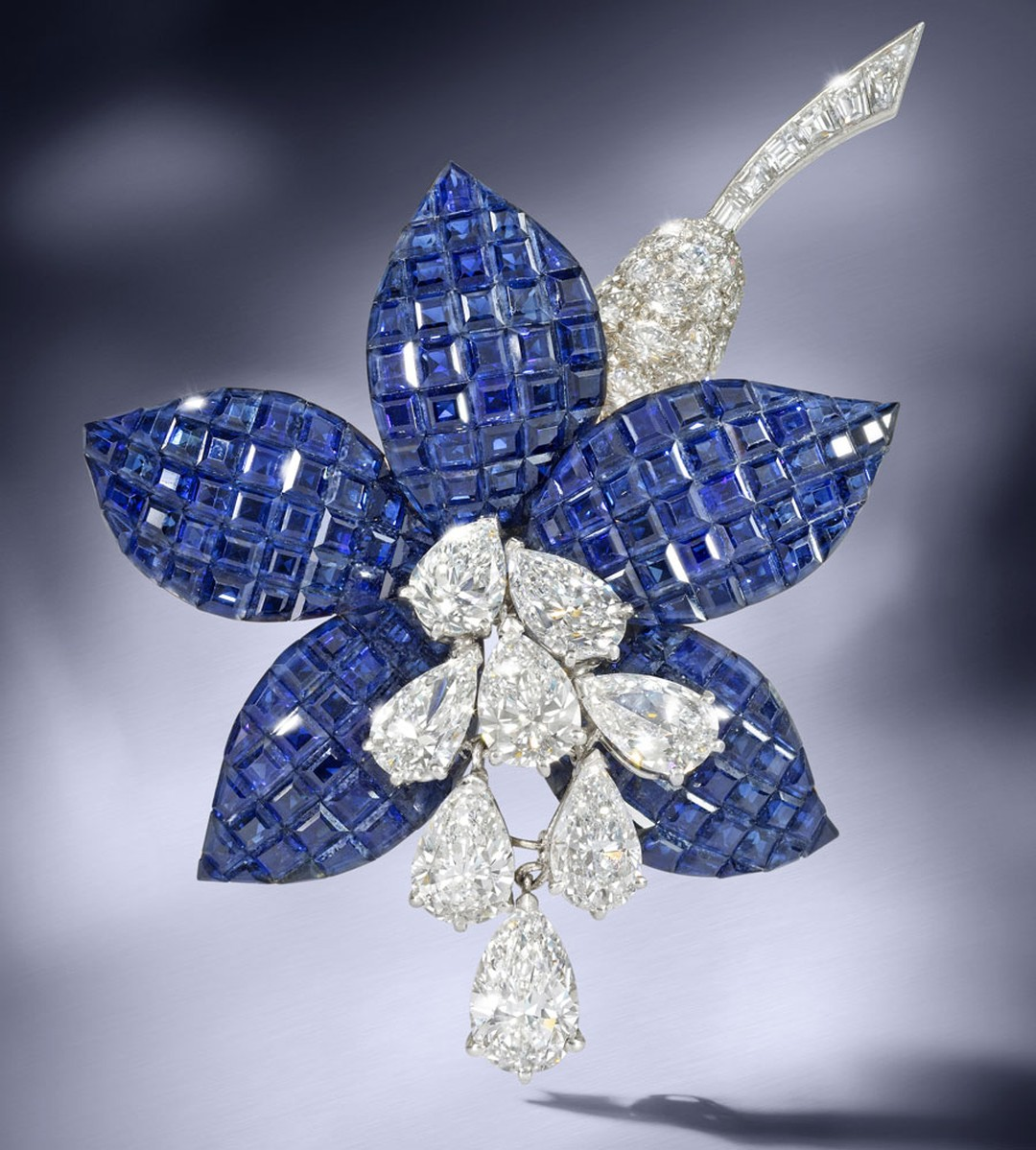 bonhams-sapphire-and-diamond-Fuschia-brooch-Van-Cleef-and-Arpels