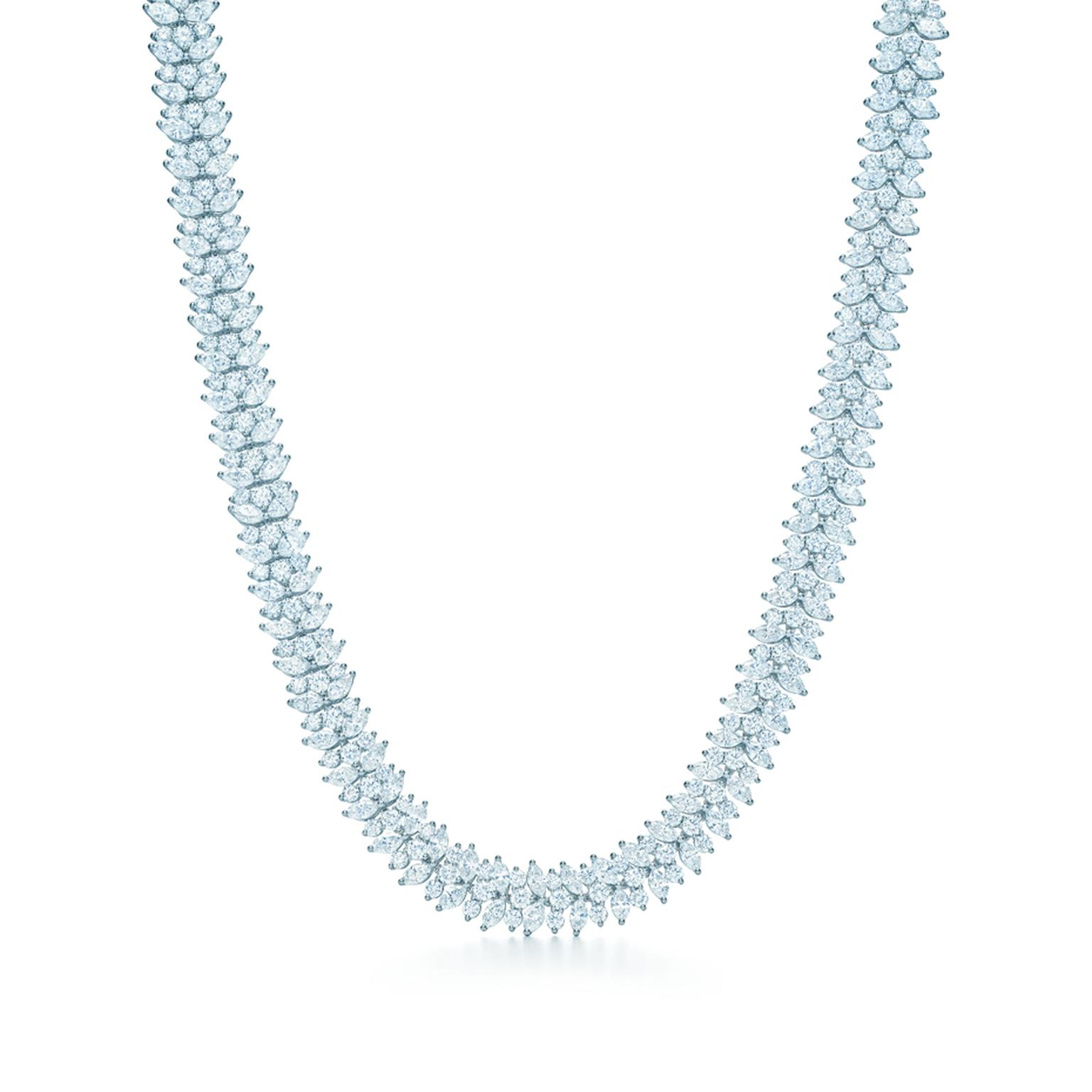 The Tiffany & Co. diamond cluster necklace worn by Jessica Biel to the 86th Academy Awards