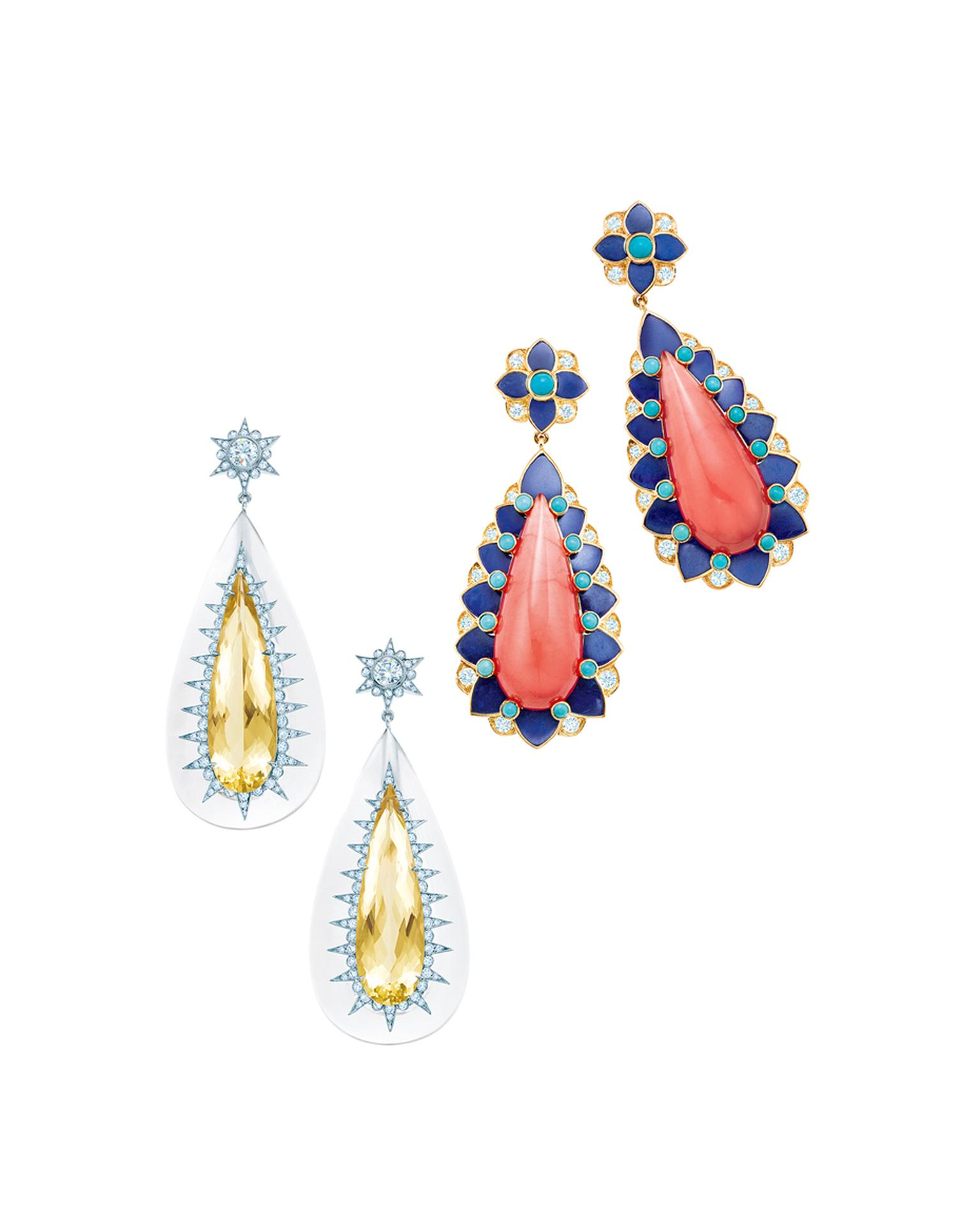 The distinctive cabochon rhodochrosite, lapis lazuli, turquoise and diamond Tiffany & Co. earrings (right) worn by Amy Adams on the 2014 Oscars red carpet