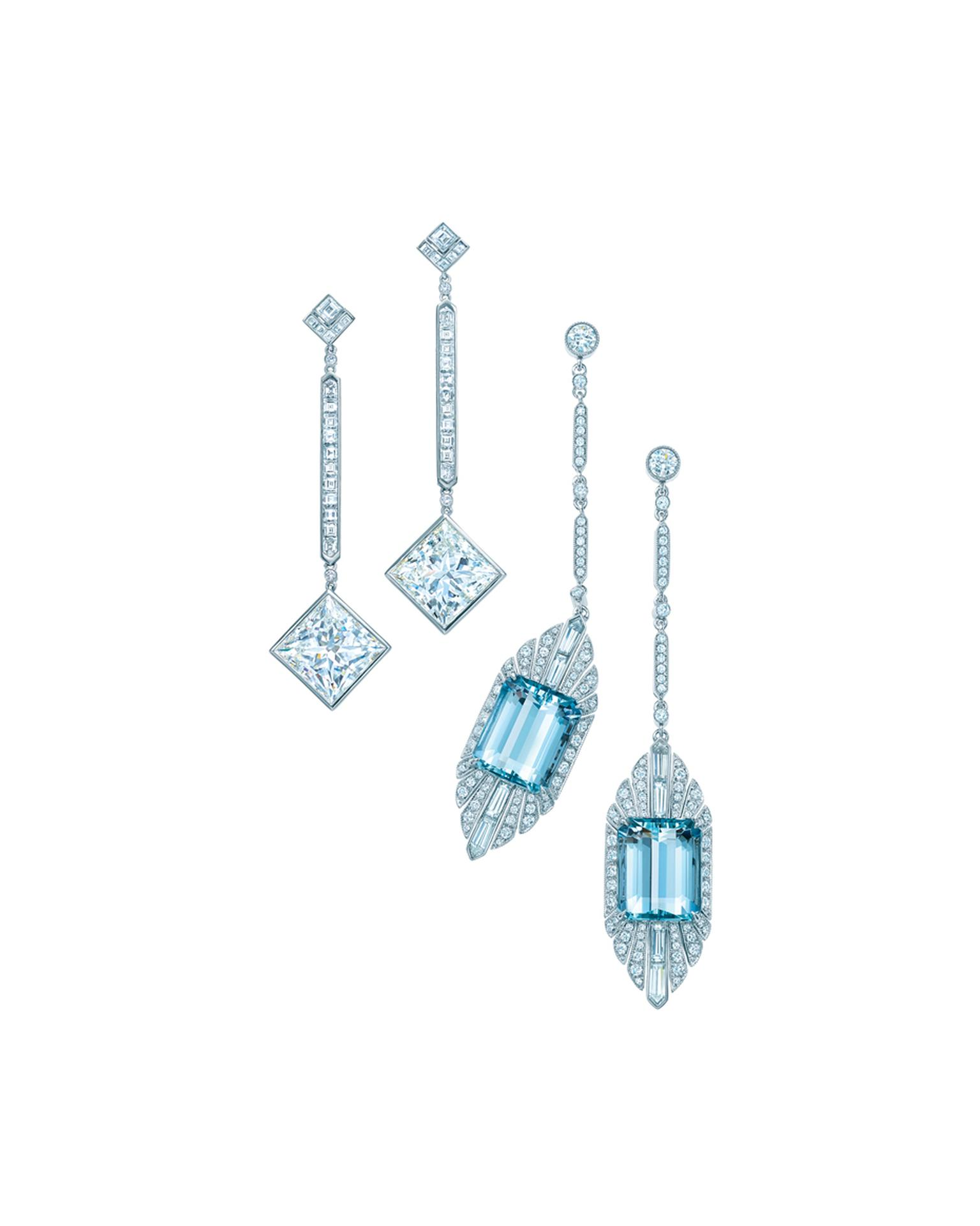 The Tiffany & Co. diamond drop earrings in platinum, left, worn by Jessica Biel at the Academy Awards 2014
