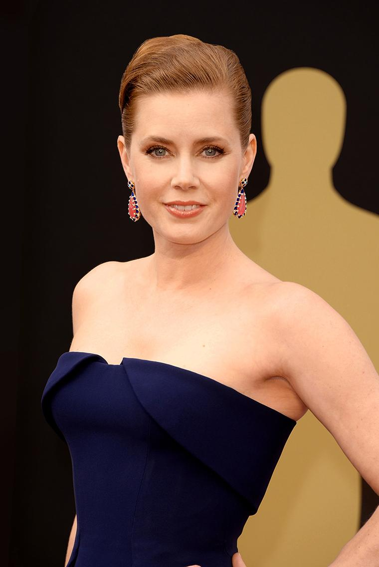Amy Adams paired her classic navy gown with some of the most colourful jewels of the night at the Oscars 2014, including a pair of Tiffany Blue Book Collection rodochrosite, lapis and turquoise gold earrings