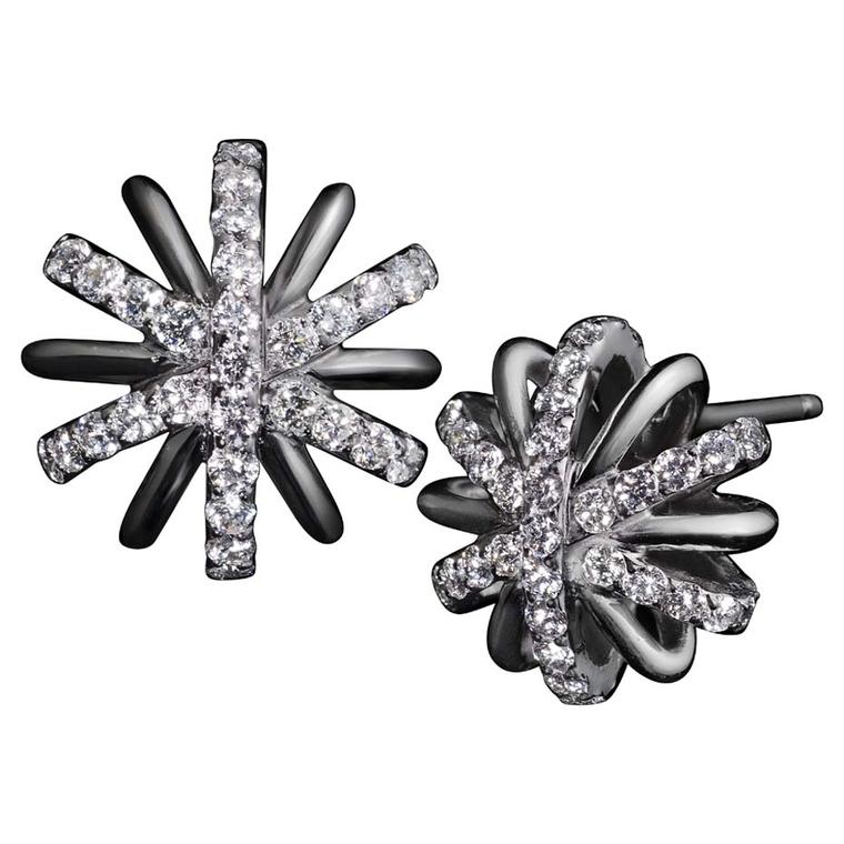 Alexandra Mor limited-edition Diamond Snowflake earrings in platinum