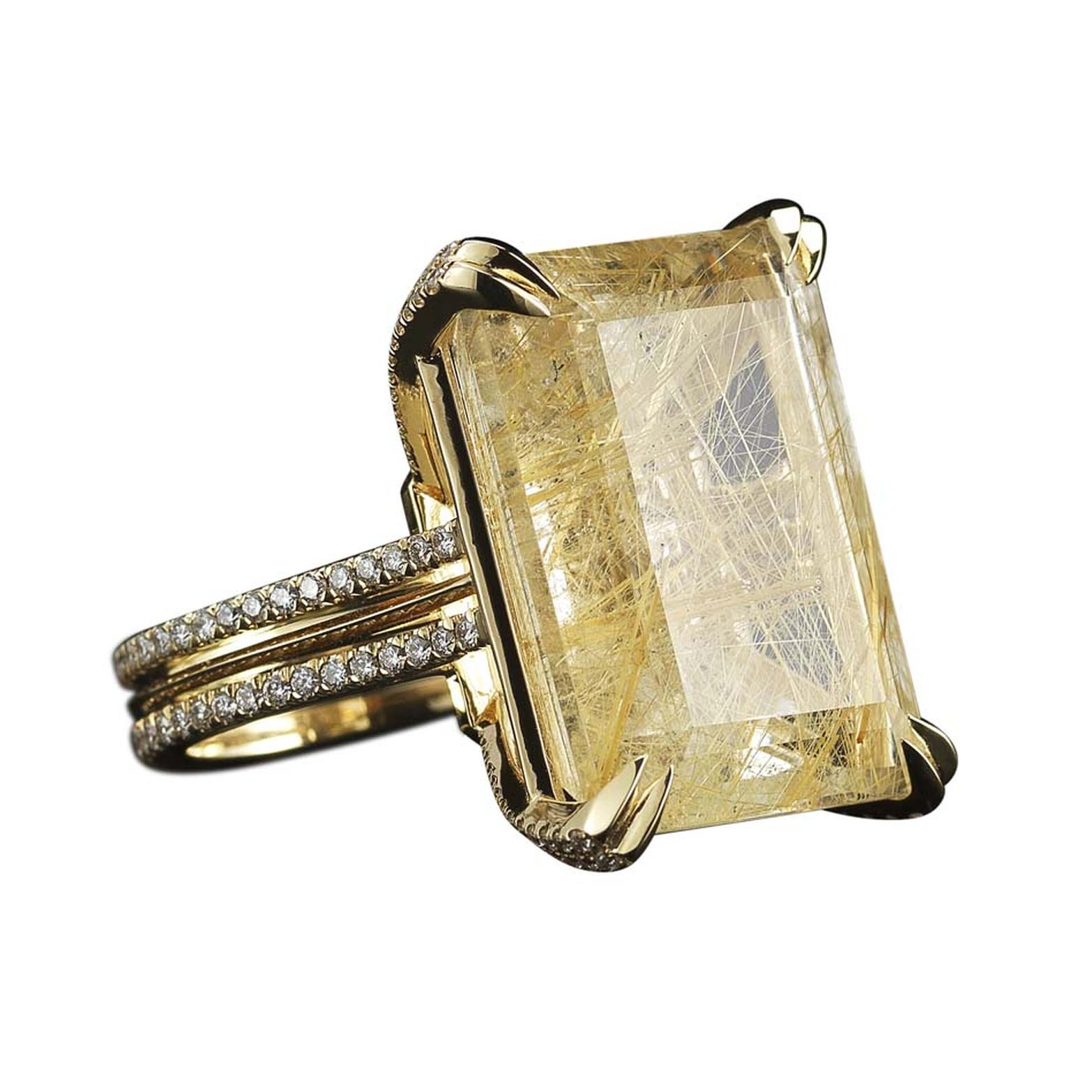 One-of-a-kind Alexandra Mor rutilated quarz and diamond ring in yellow gold