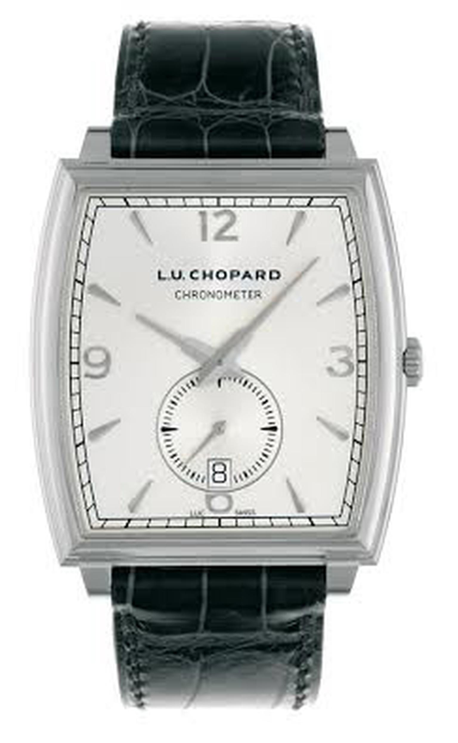 Chopard L.U.C XP Tonneau timepiece crafted in 18-carat white gold, featuring a white dial and black leather strap, worn by Academy Award Winner Matthew McConaughey during the 86th Academy Awards.