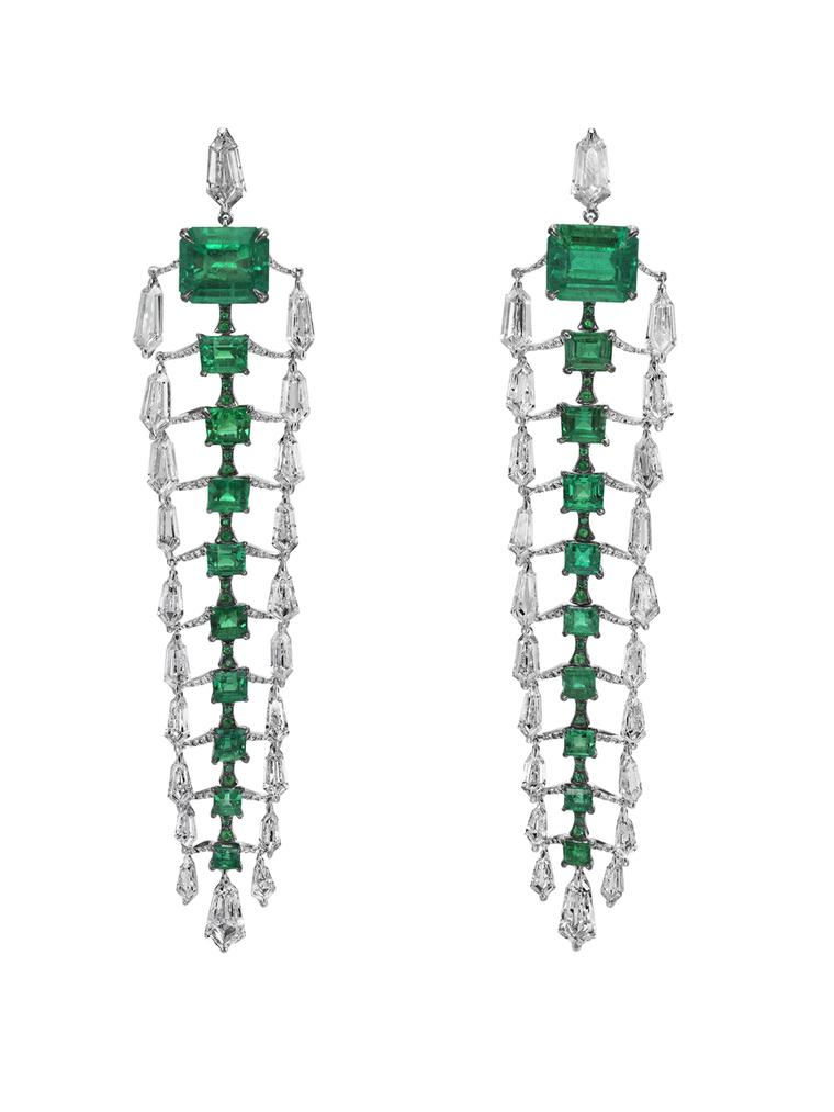 Boghossian Colombian emerald and diamond earrings
